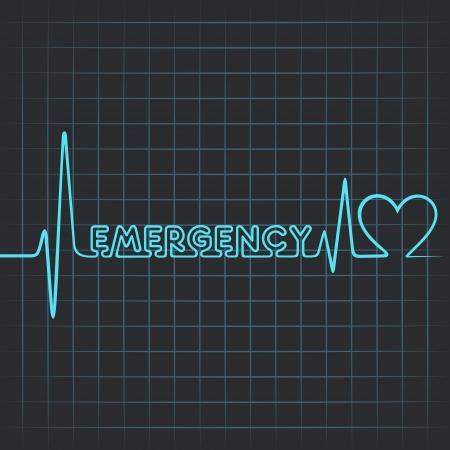 emergencia: Ilustraci�n de los latidos del coraz�n hacen palabra emergencia y el coraz�n Vectores