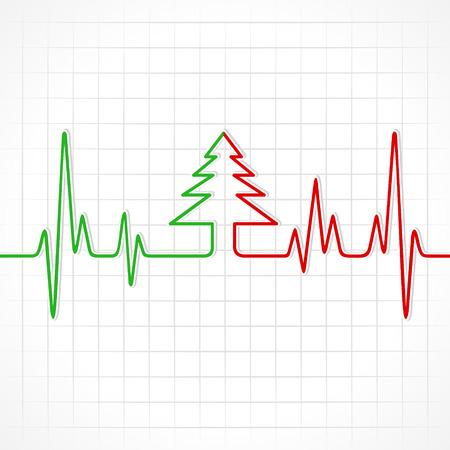 Illustration of heartbeat make christmas tree