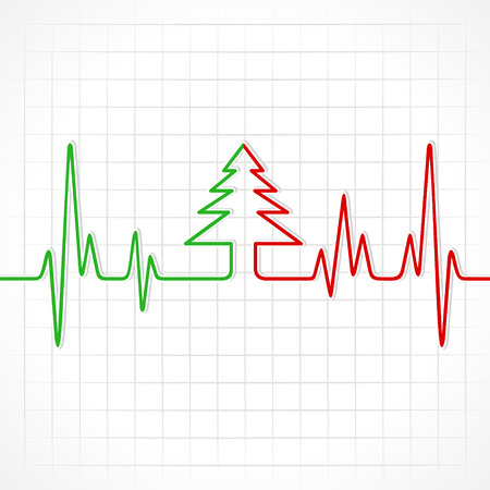 Illustration of heartbeat make christmas tree  Vector