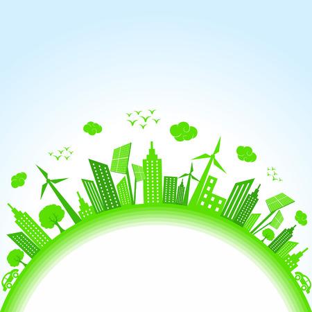 grün: Illustration der Ökologie-Natur-Konzept sparen