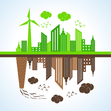 Illustration of eco and polluted city  Stock Illustratie