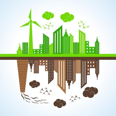 bioedilizia: Illustrazione della citt� eco e inquinata Vettoriali
