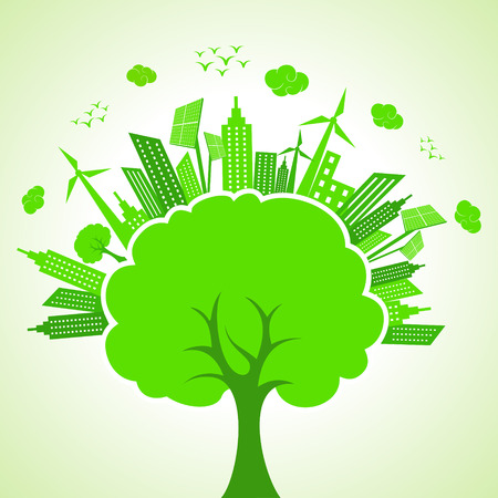 Illustration of ecology concept- save nature  Vector
