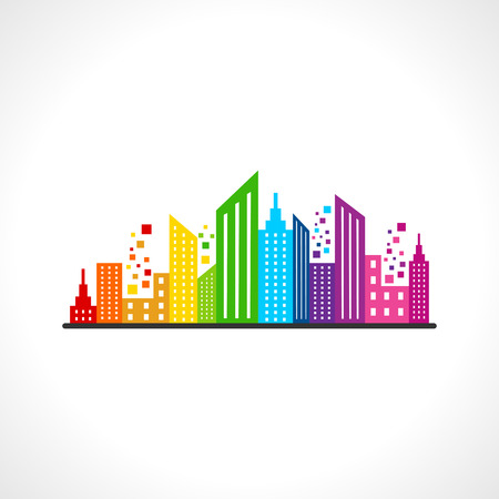 city skyline: Illustration of abstract colorful building design