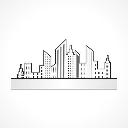paesaggio industriale: Illustrazione di astratto nero vera icona del design immobiliare