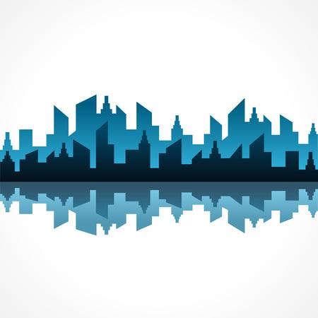 Illustration de conception abstraite du bâtiment bleu