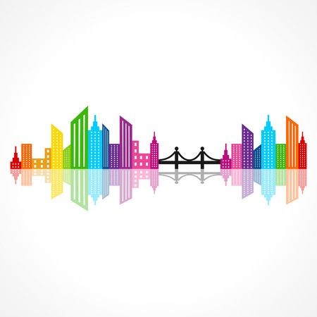 Illustration of abstract colorful building design with bridge Vector