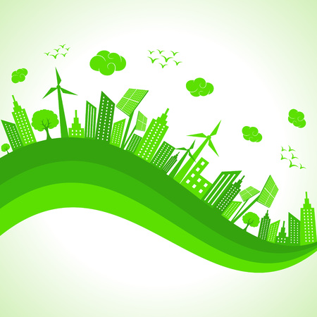 green buildings: Illustration of ecology concept- save nature  Illustration