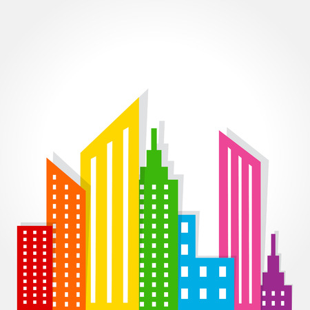 commercial real estate: Illustration of abstract colorful building design