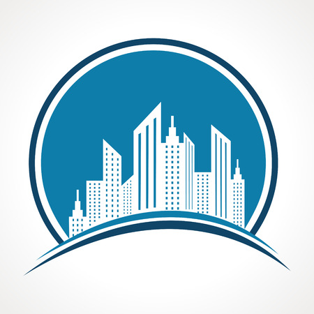 commercial real estate: Illustration of abstract blue real estate icon design