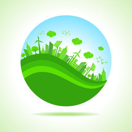 desarrollo sustentable: Ilustración de la ecología concepto de ahorro de la naturaleza