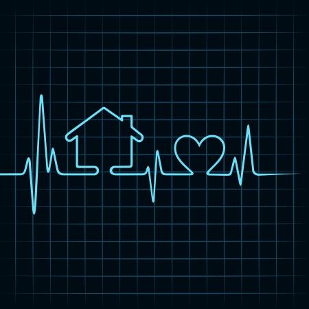 Heartbeat fare una casa e il cuore icona stock vector Vettoriali