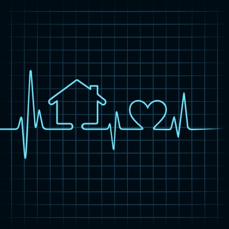 Heartbeat make a home and heart icon stock vector  Illustration