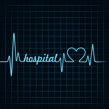 diagnostic tool: heartbeat make a hospital text and heart symbol stock vector