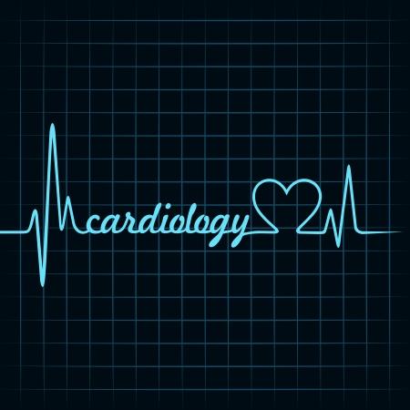 cardiac care: heartbeat make a cardiology text and heart symbol stock vector