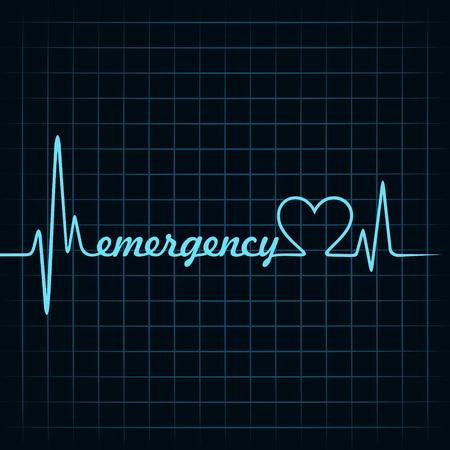 ecg heart: heartbeat make a emergency text and heart symbol stock vector