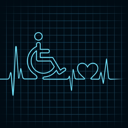heartbeat make handicapped and heart symbol stock vector
