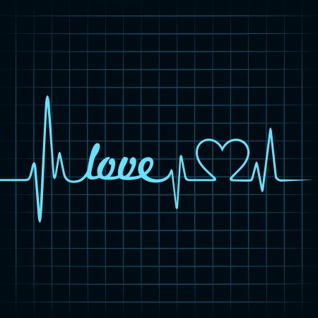 heartbeat make a love text and heart symbol stock vector Stock Vector - 22632199