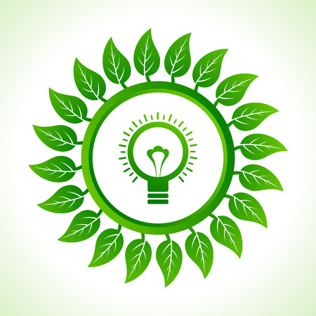 Eco bulb inside the leaf background stock vector Stock Vector - 22632225