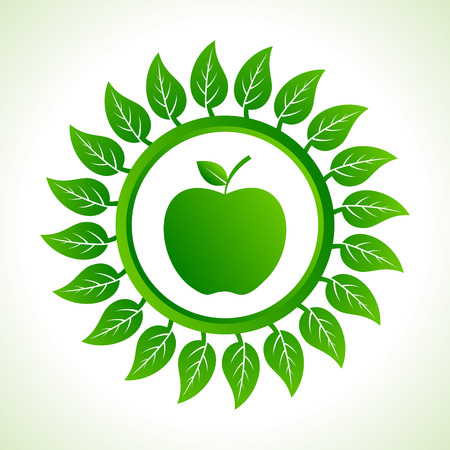 green apple organic food with leaf stock vector  Stock Vector - 22632229