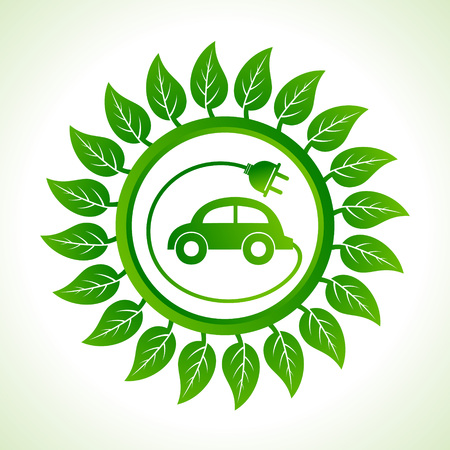 eco car: Eco auto in het blad achtergrond stock vector