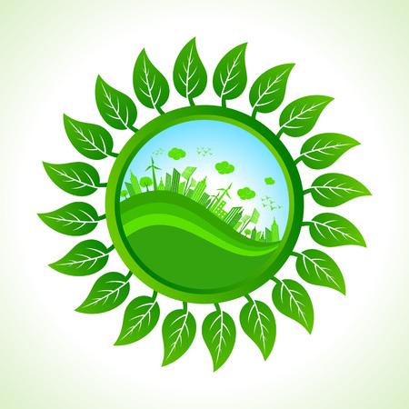 pannel: Eco city inside the leaf background stock vector  Illustration
