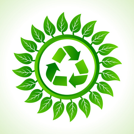 Recycle icon inside the leaf background stock vector Stock Vector - 22632257