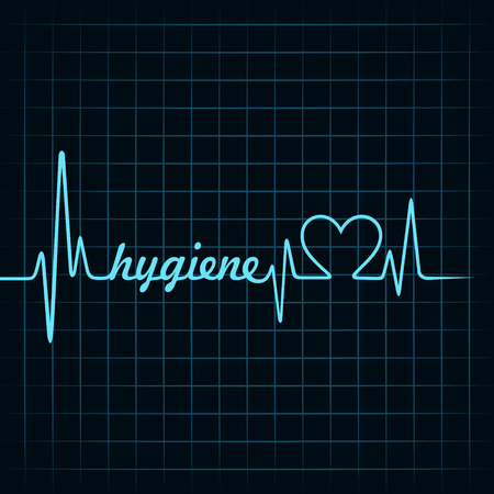diagnostic medical tool: Heartbeat make hygiene word and heart symbol stock vector