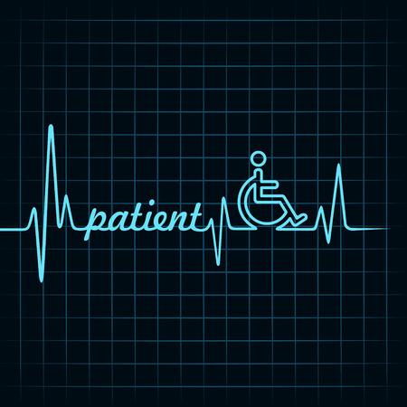wheel chair: Heartbeat make patient word and symbol stock vector