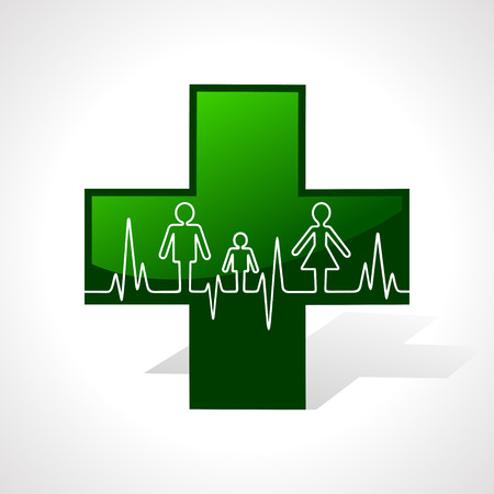 Heartbeat make family icon inside the medical symbol stock vector Vector Illustration