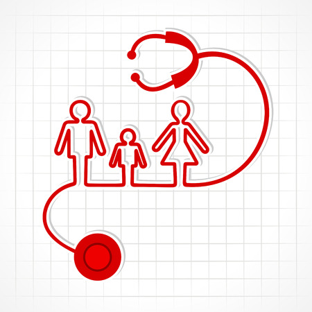 Stethoscope make family icon stock vector