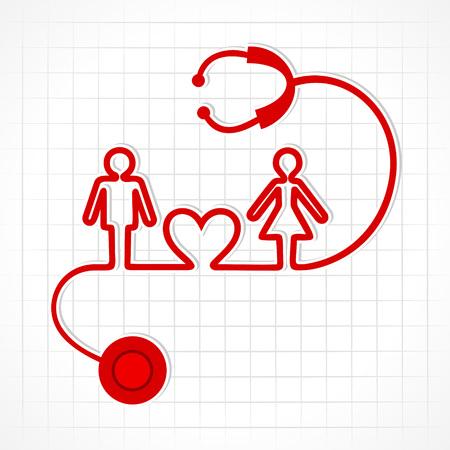 聴診器を男性、女性や心臓記号株式ベクトル