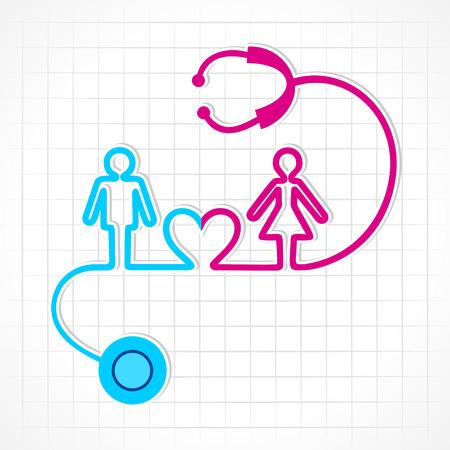 masculino: Estetoscopio hacen símbolo masculino, femenino y corazón stock vector