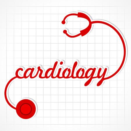 stethoscope heart: Stethoscope make cardiology word stock vector