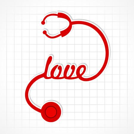 hacer el amor: Estetoscopio hacer el amor la palabra stock vector