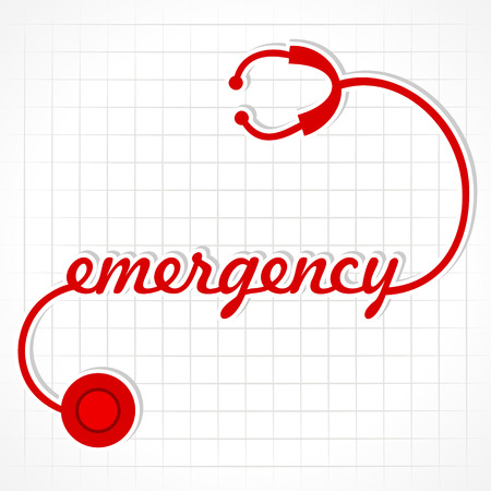 hand beats: Stethoscope make emergency word stock vector