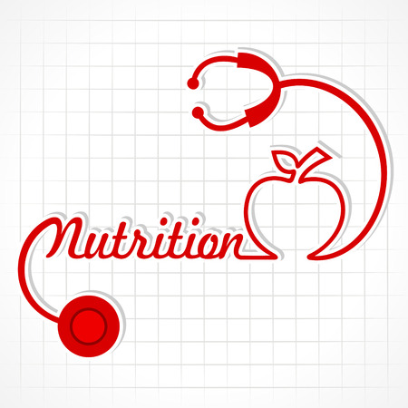 stethoscope heart: Stethoscope make nutrition word and apple stock vector