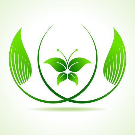Eco butterfly between  the leaf  stock vector  Vector