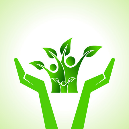 Illustration of save eco family concept  Vector