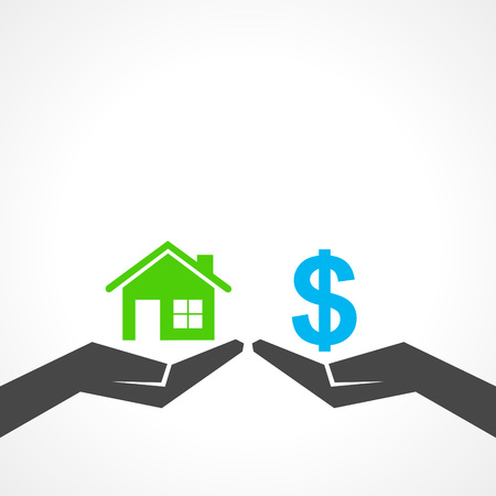 Illustration of save home and money concept  Vector
