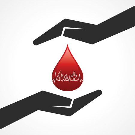 Illustration of save blood drop with heartbeat concept  Vector