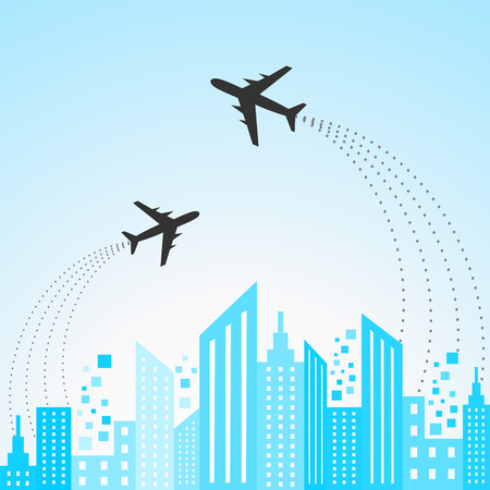 Illustration of blue cityscape scene with aeroplane Stock Vector - 22944428
