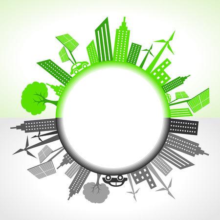 Illustration of eco and polluted city around circle Vector