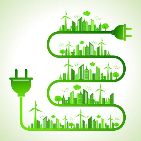 electric plug: Illustrazione del concetto di ecologia con spina elettrica - salva la natura