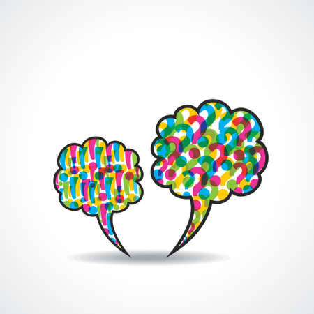 exclamatory: message bubble with question and  exclamatory mark stock vector