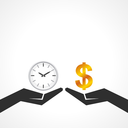 grey scale: Hand hold dollar and clock symbol to compare their value stock vector