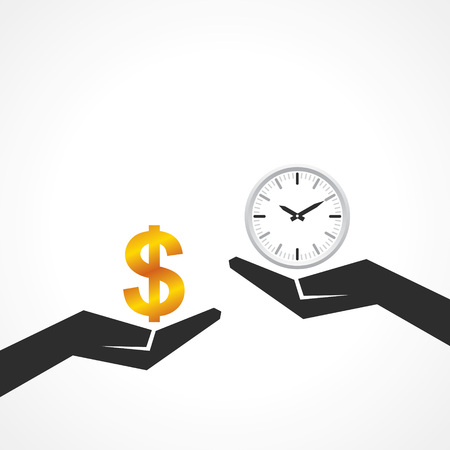 payday: Hand hold dollar and clock symbol to compare their value stock vector