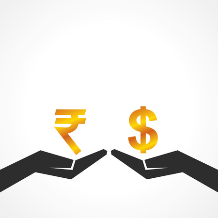 purchasing power: Hand hold dollar and rupee symbol to compare their value stock vector