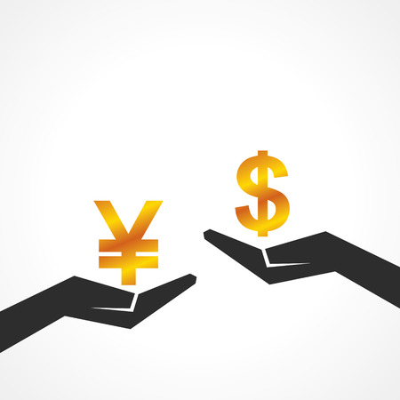 worth: Hand hold dollar and yen symbol to compare their value stock vector Illustration