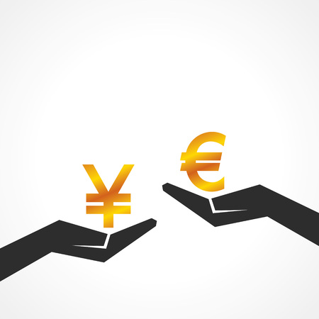 either: Hand hold yen and euro symbol to compare their value stock vector